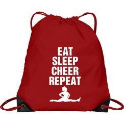 Eat sleep cheer repeat bag