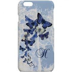 Blue Butterfly Monogramed Case