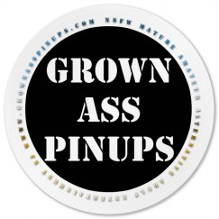 GROWN ASS PINUPS OFFICIAL BADGE PLASTIC ROUND COASTER
