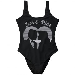 Silhouette Couple in Silver Metallic Heart