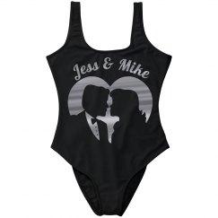 Silhouette Couple in Silver Metallic Heart