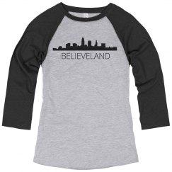 Believeland Skyline Baseball Tee