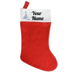 Custom Name stocking with glitter Christmas tree