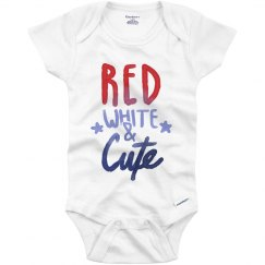 Red, White, Cute 4th Onesie