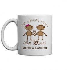 10th Anniversary Funny Customized Monkey Mug Gift