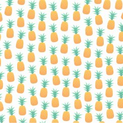 Sporty White Pineapples Print