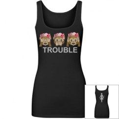 Trouble Rhinestone Emoji Tank