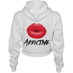Red Lips Addictive Womens Crop Hoodie