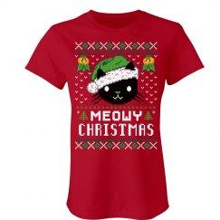 Meowy Christmas Red Shirt
