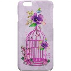 Pink Floral Birdcage Soft Purple