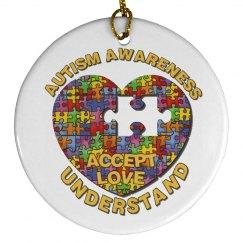 Autism Heart Puzzle Ornament