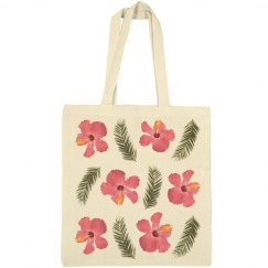 Pink Hibiscus & Tropical Leaves (Eco Friendly Bag)