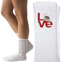 Distressed CA LOVE Socks