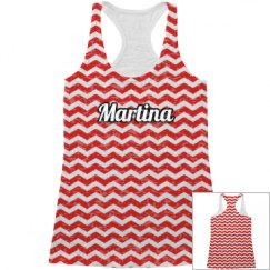Red Chevron All Over Print Tank Top