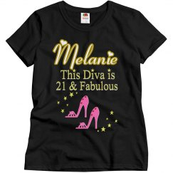 21ST BIRTHDAY PINK SHOE QUEEN PERSONALIZED TSHIRT