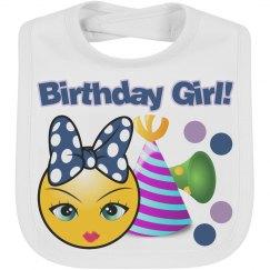 Birthday Girl Emoji Baby Bib