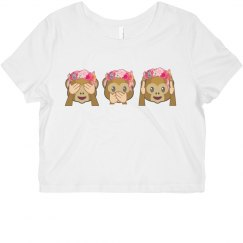 Emoji Crop T-shirt Monkey