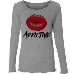 Red Lips Addictive Womens Wide Neck Sweatshirt