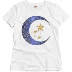 Blue & Gold Floral Crescent Moon & Stars