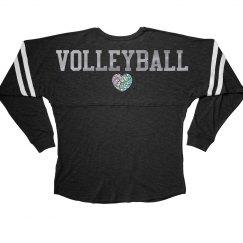 Silver Metallic Volleyball Love