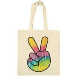 Cotton Canvas Peace Sign Bag