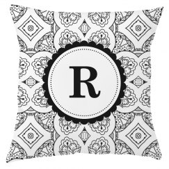 Custom Monogram Boho Print Pillow