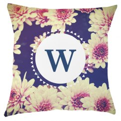 Custom Monogram Floral Pillow