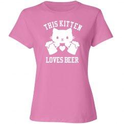 This Kitten Loves Beer T-shirt
