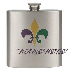 Personalized Mardi Gras Flask