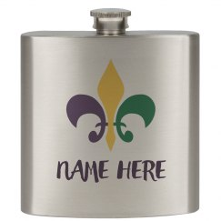 Personalized Mardi Gras Flask