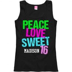 Peace Love Sweet 16 Cute Neon