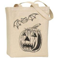Halloween Pumpkin and Bat Tote