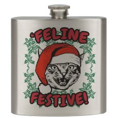 Feline Festive Xmas Flask