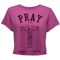 Cross Jesus Pray Crop Shirt