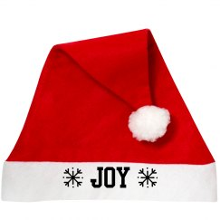 Joy Santa Hat with Snowflakes
