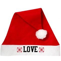 Love Santa Hat with Snowflakes