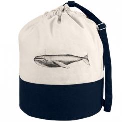 whale canvas beach bag