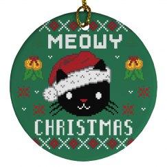 Ugly Meowy Xmas Ornament