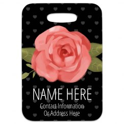 Custom Travel Tag With Floral Rose