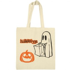 Halloween Pumpkin with Ghost Tote
