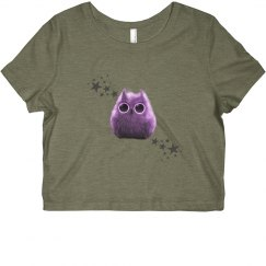 Purple owl crop shirt