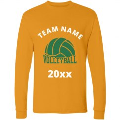 Gold Unisex Custom VolleyBall Team Long Sleeved Shirts