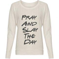 Pray and Slay Ivory Slouchy Shirt