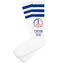USA Peace Sign Custom Text Socks
