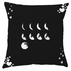 Moon Heart Throw Pillow