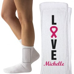 Love for the Fighters Breast Cancer Socks