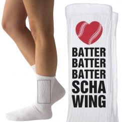 Funny Kinky Baseball Girlfriend Socks With Heart