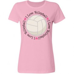 I Love Volleyball Womens Sports T-shirt