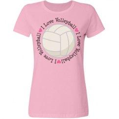 I Love Volleyball Womens Sports T-shirt