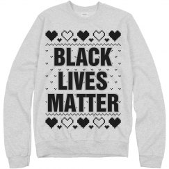 Hearts Black Lives Matter Ugly Sweater - Black Detail
